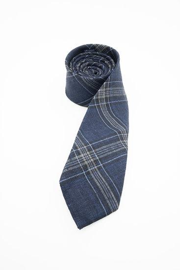 Pure Linen Tie - Delave Navy Glen