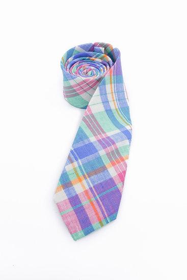 Pure Linen Neck Tie - Baby Blue Madras