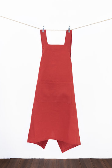 Linen Apron -Signal Red