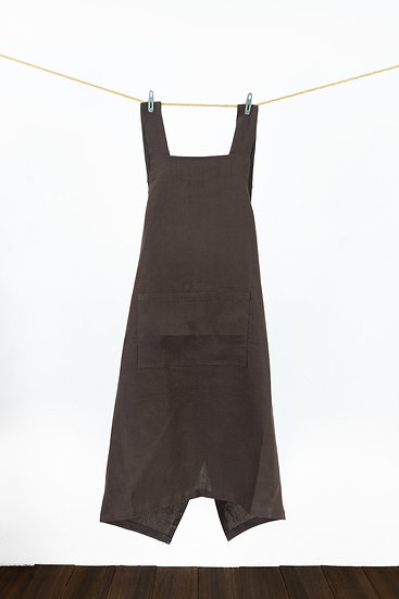 Linen Apron - Hickory Brown