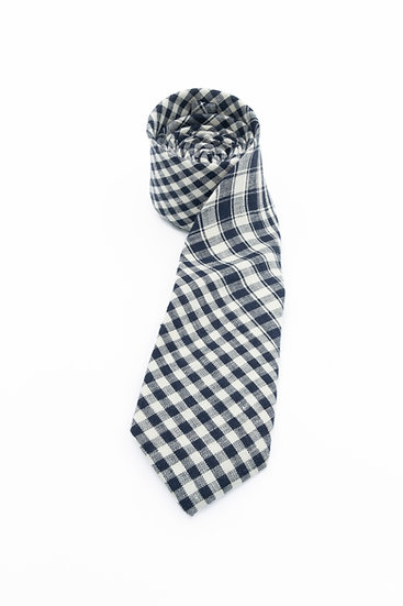 Pure Linen Tie - Navy White Gingham