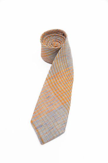Pure Linen Tie - Orange Blue Glen