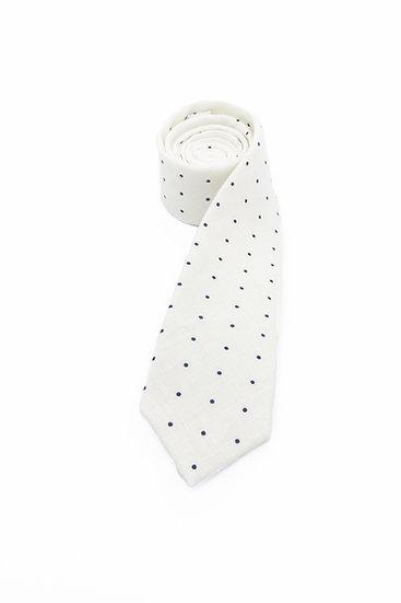 Pure Linen Tie - Black Polka Dot on White