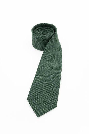 Pure Linen Tie - Forest Plaid