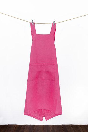 Linen Apron - Fusia Pink