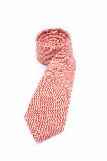 Pure Linen Tie - Carrot Chambray