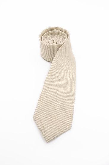 Pure Linen Tie -Oat Stripe