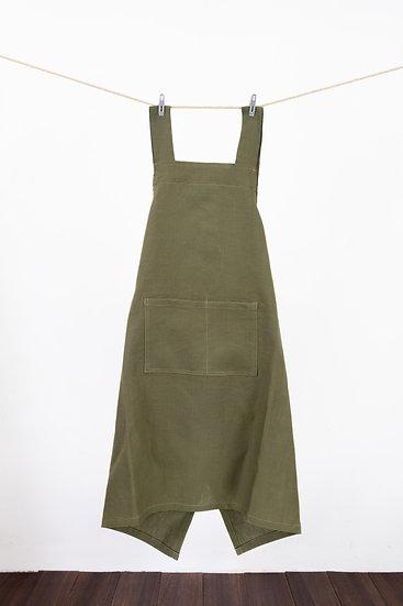 Linen Apron -Olive