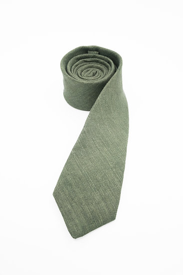 Pure Linen Tie - Army Olive