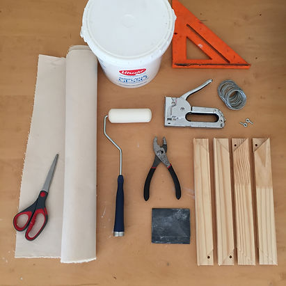 Materials needed to create a stretched canvas for oil paintings