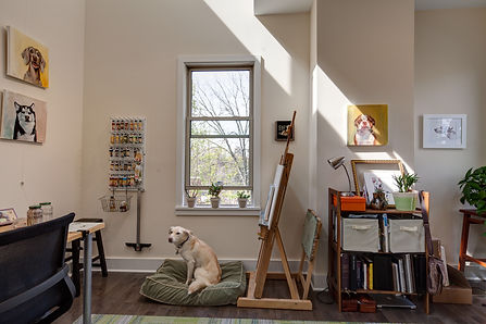 Art studio space in Pittsburgh Pennsylvania for pet portraits