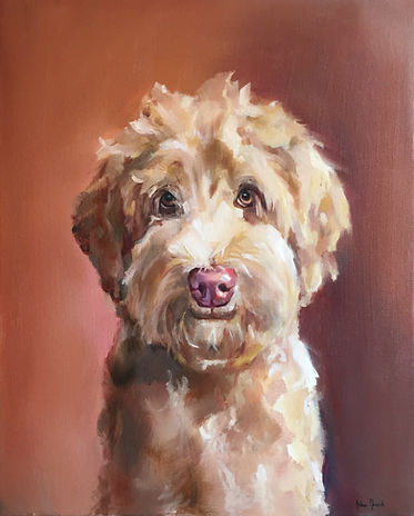 Pittsburgh pet portrait oil painting of a golden doodle