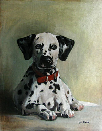 Pet Portrait oil painting of a Dalmatian with red collar