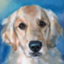 pet portrait oil painting golden retriever in a realistic style