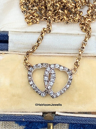 Victorian Double Diamond Entwined Hearts set in Gold & Silver