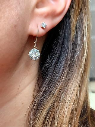 Art Deco 9ct Gold & Sparkling Paste 10mm flowerhead earrings