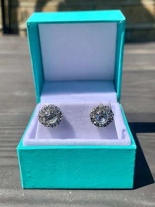 Art Deco 12mm Sparkling Paste & Silver Flowerhead on white gold posts