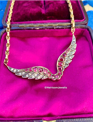 Victorian Ruby & Diamond Wings on fancy link Victorian  9ct Gold chain