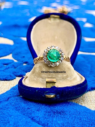 22ct Gold Victorian Natural Cabochon Emerald & Diamond Ring
