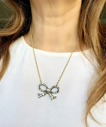Victorian Silver & Sparkling Paste Bow with 9ct Gold 18inch chain