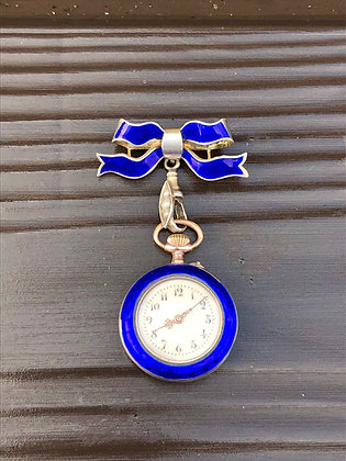 1930's Silver, Seed Pearl and Blue Enamel Fob Pendant watch