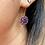 Thumbnail: Art Deco Silver & Sparkling Purple Paste Flowerheads on new 9ct Gold hooks