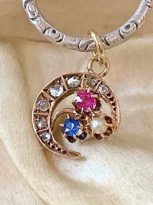 💜 PIPPA 💜 15ct Gold Pearl, Pink & Blue Sapphire mini crescent moon charm.