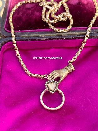Georgian Mourning Hand & Heart locket with 15mm Split Ring
