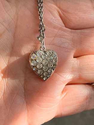 Victorian Silver and Paste Heart hanging on a Victorian Silver 16inch:42cm chain