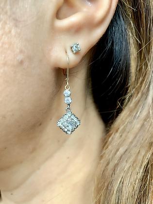 Art Deco Silver & Sparkling Paste Square cut earrings