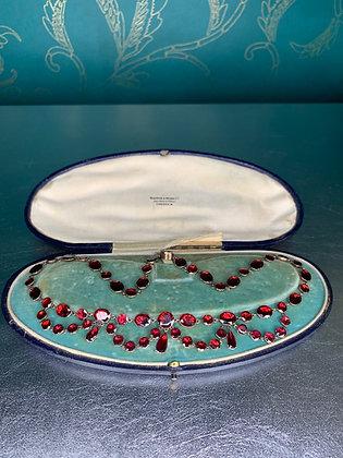 Georgian flat cut Garnet swag necklace 9ct Gold set 43cm:16.5inches long
