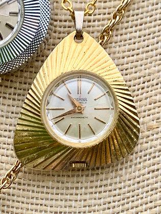 Vintage Josmar 17 Jewels Etched Pendant Watch