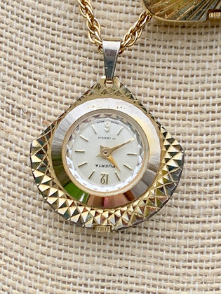 Vintage Puerta Swiss Made Etched Pendant Watch