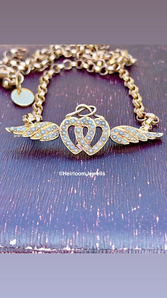 15ct Gold Victorian Pearl Entwined Hearts and Winged Pendant