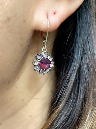 Vintage Silver & Sparkling Purple & Lilac Paste flower drop earrings