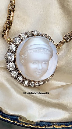 Victorian Carved Moonstone Boy with Diamond Crescent