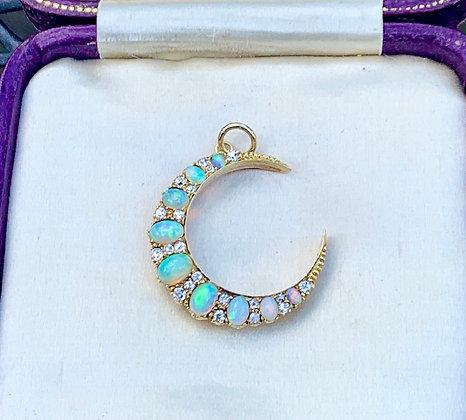 💜MARGOT💜 Victorian Opal and Diamond Crescent Pendant