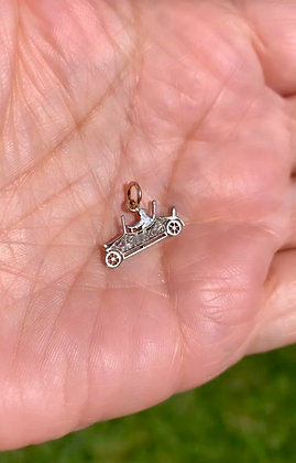 Vintage Rose cut Diamond and White gold old fashioned car charm