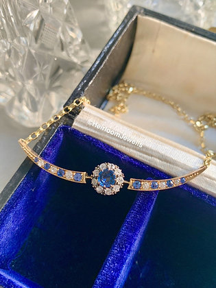 Victorian Cornflower Blue Sapphire and  Old cut Diamond open crescent.
