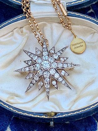 Victorian(c1870)  5.45cts Old Cut Diamond 40mm:1.5 inch Star Brooch Pendant