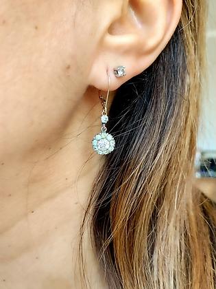 Art Deco Sparkling Paste & Silver Flowerhead earrings