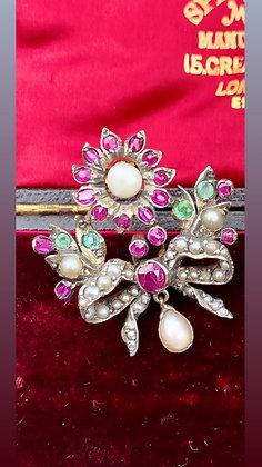 Early 1800 Silver, Gold, Ruby, Emerald & Pearl flower & pearl drop Brooch