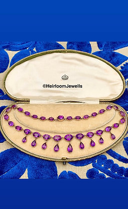 Early Victorian Amethyst Drop Riviera set in Gold