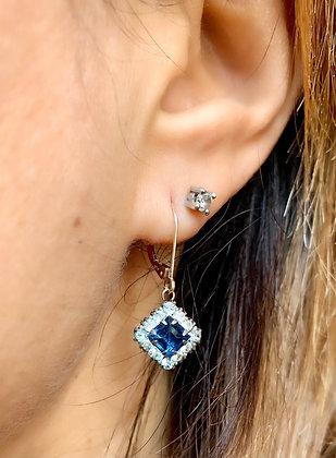 Art Deco Silver & Sparkling Blue Paste earrings