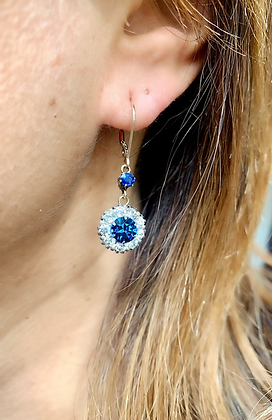 Art Deco Sparkling Paste Flowerheads with natural blue Sapphire Solitaire