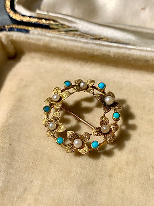 Victorian Pearl & Turquoise Wreath Brooch