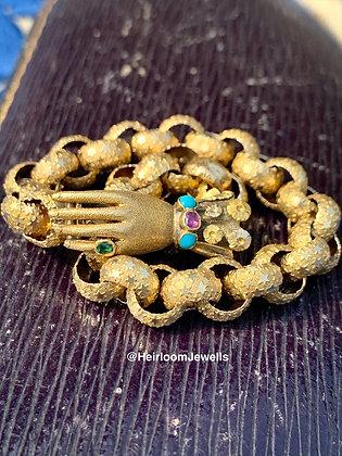 Georgian c1800 Gem Set Gloved Hand Clasp on a 15ct Gold Bracelet