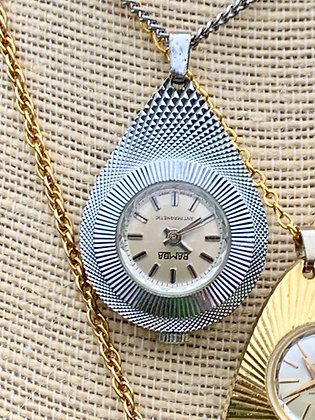Vintage Bamba Stainless Steel Etched Pendant watch