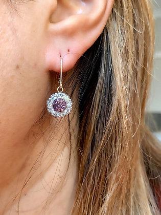 Art Deco  (c1920) Antique Silver & Lilac sparkling paste earrings.