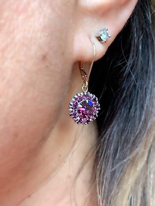 Art Deco Silver & Sparkling Purple Paste Flowerheads on new 9ct Gold hooks
